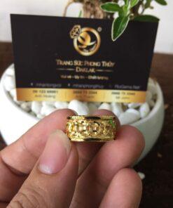 Nhẫn kim tiền 2 LỚP nẹp lông voi (có Giác lòng vàng) phong thủy Riogems