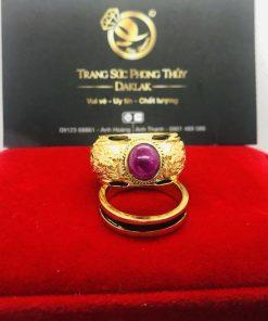 Nhẫn phong thủy Rồng Rồng tranh ngọc Ruby Thái Lan RIOGEMs