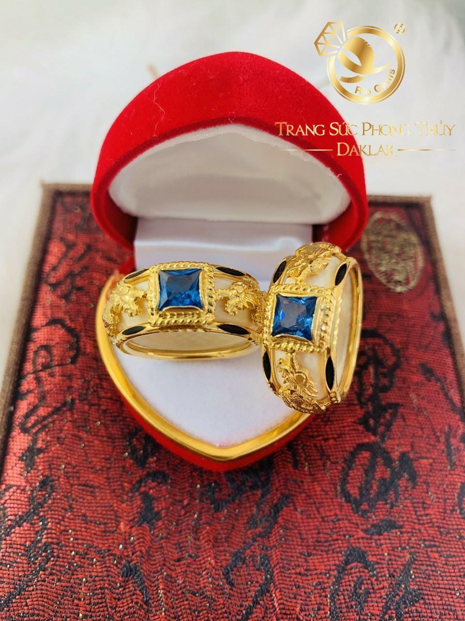 Nhẫn phong thủy 2 rồng CZ xanh dương