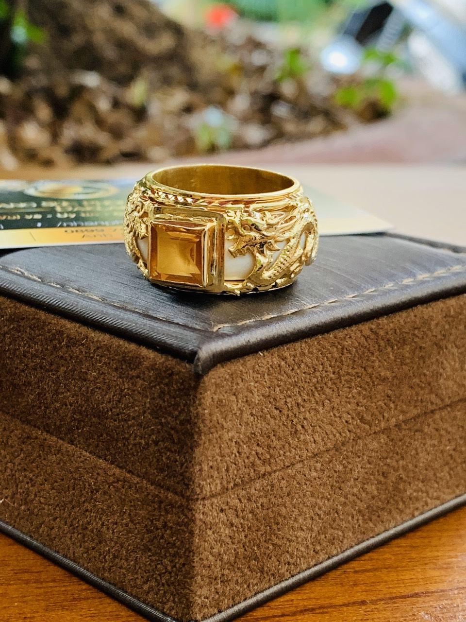 Nhẫn vàng nam mặt đá vuông VÀNG CTRINE