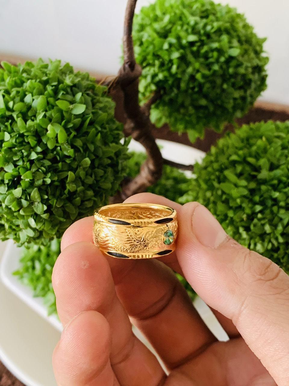 Nhẫn lông voi Rồng Phụng dập móng vàng phong thủy châu ngọc Cz Riogems