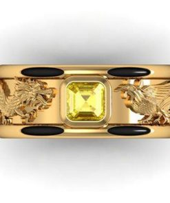 Nhẫn lông voi rồng phụng chầu ngọc vuông vàng phong thủy Riogems