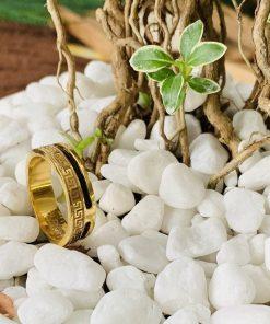 nhẫn hoa văn vàng 18K 1 sợi