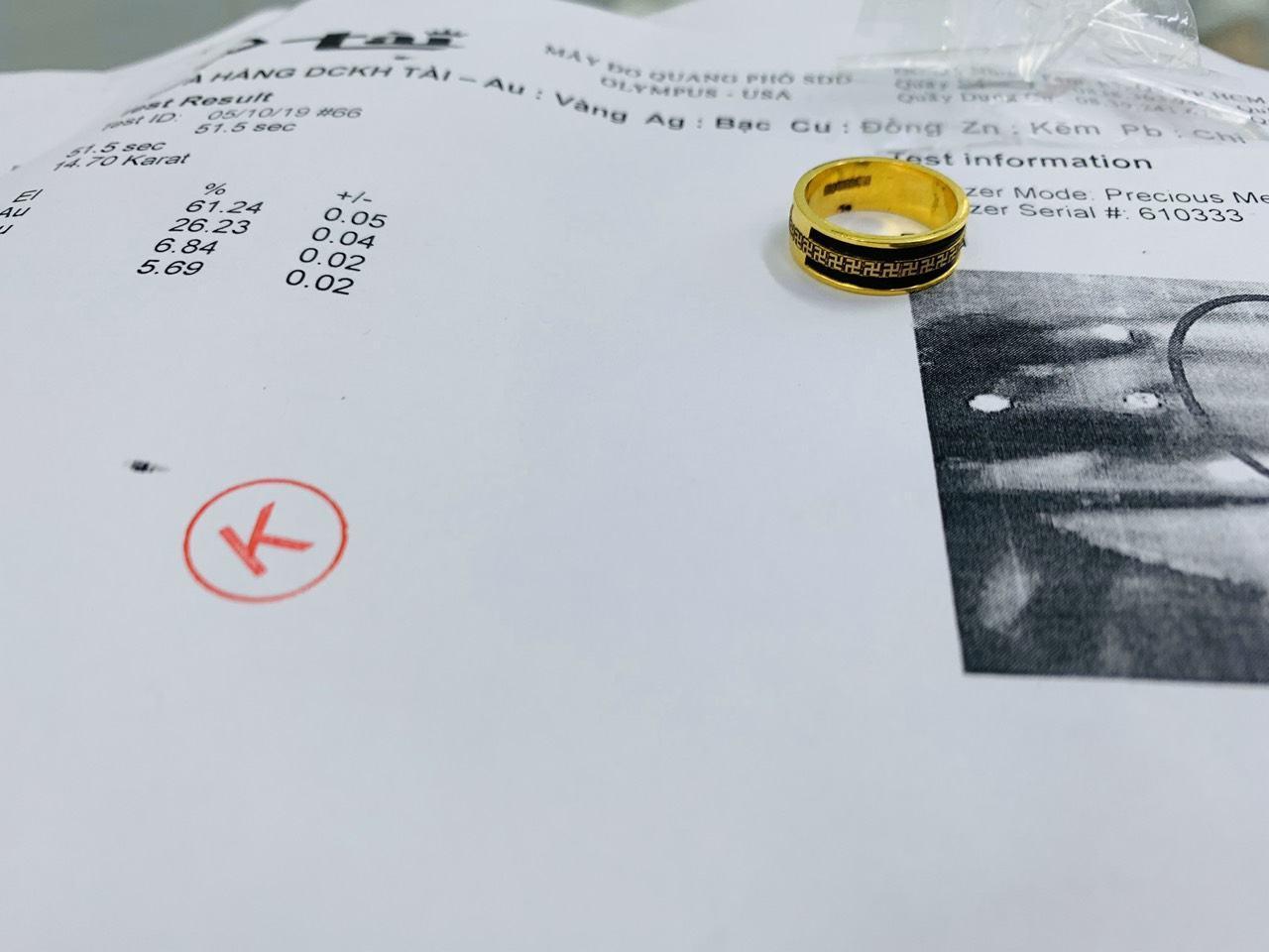 nhẫn chữ vạn nam nữ vàng 18K xỏ lông voi