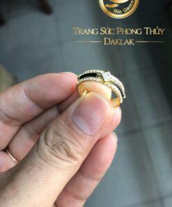Nhẫn lông voi đính 2 hàng đá 1 hàng lông voi vàng phong thủy Riogems