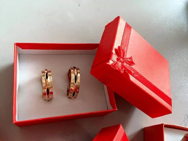 Nhẫn lông voi 2 vành vàng đính đá phong thủy Riogems