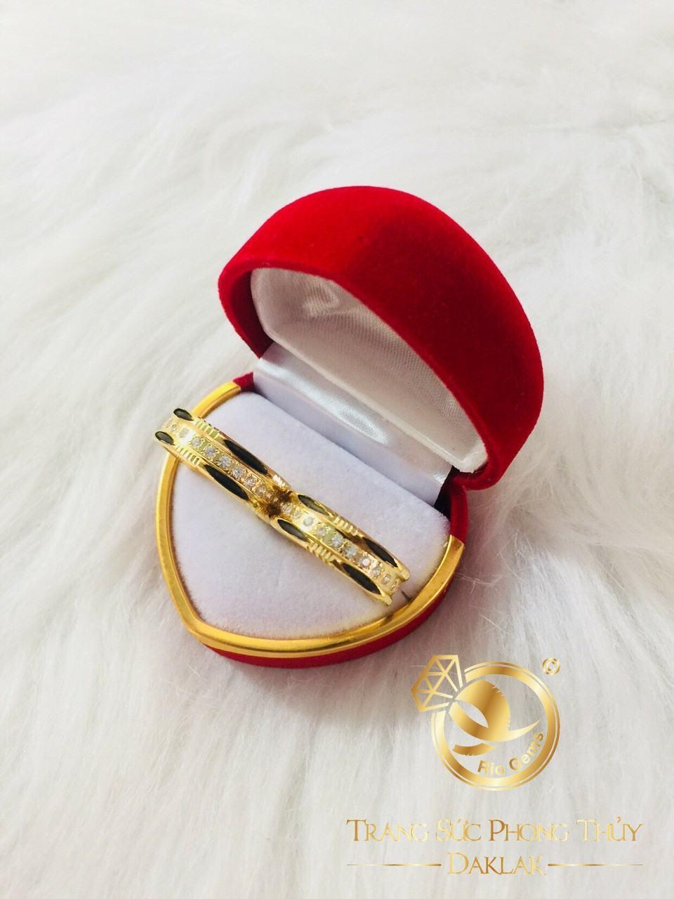 Nhẫn 2 lông voi đính đá tấm phong thủy