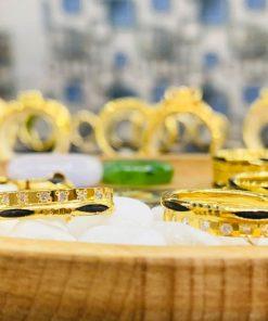Cặp nhẫn đôi VÀNG 18K đính 1 hàng đá Cz