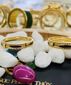 Cặp nhẫn nam nữ chạy 2 viền vàng xoắn