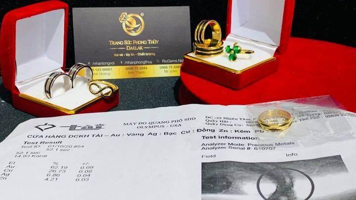 Giấy phổ vàng Nhẫn Đồng Tiền kép VÀNG 18K MI HỒNG (lông Fake) riogems