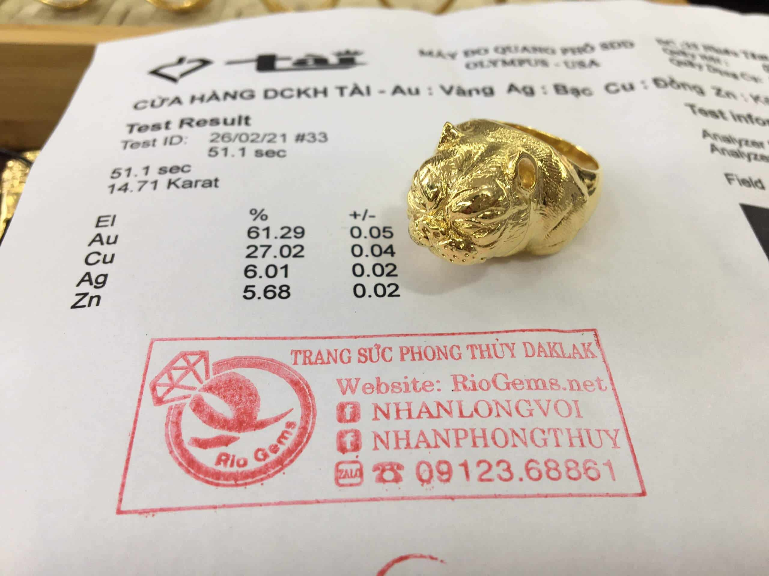 Giấy phổ vàng Nhẫn con chó Bull VÀNG 18K đúc nguyên khố