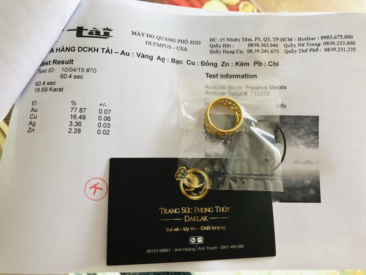 Giấy phổ vàng Nhẫn kim tiền  vàng 18K