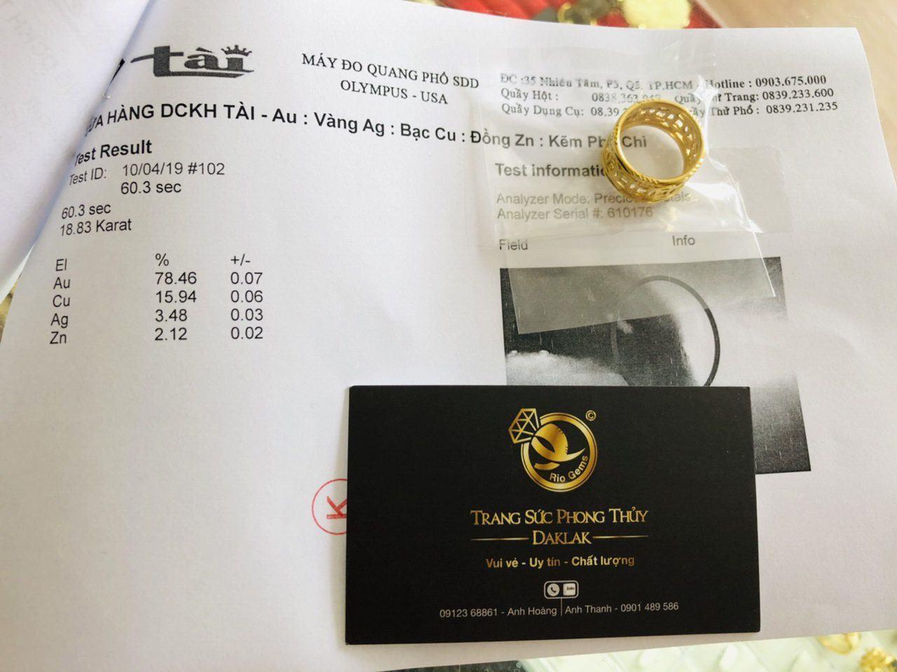 Giấy phổ vàng Nhẫn kim tiền  vàng 18K phong thủy giá TỐT
