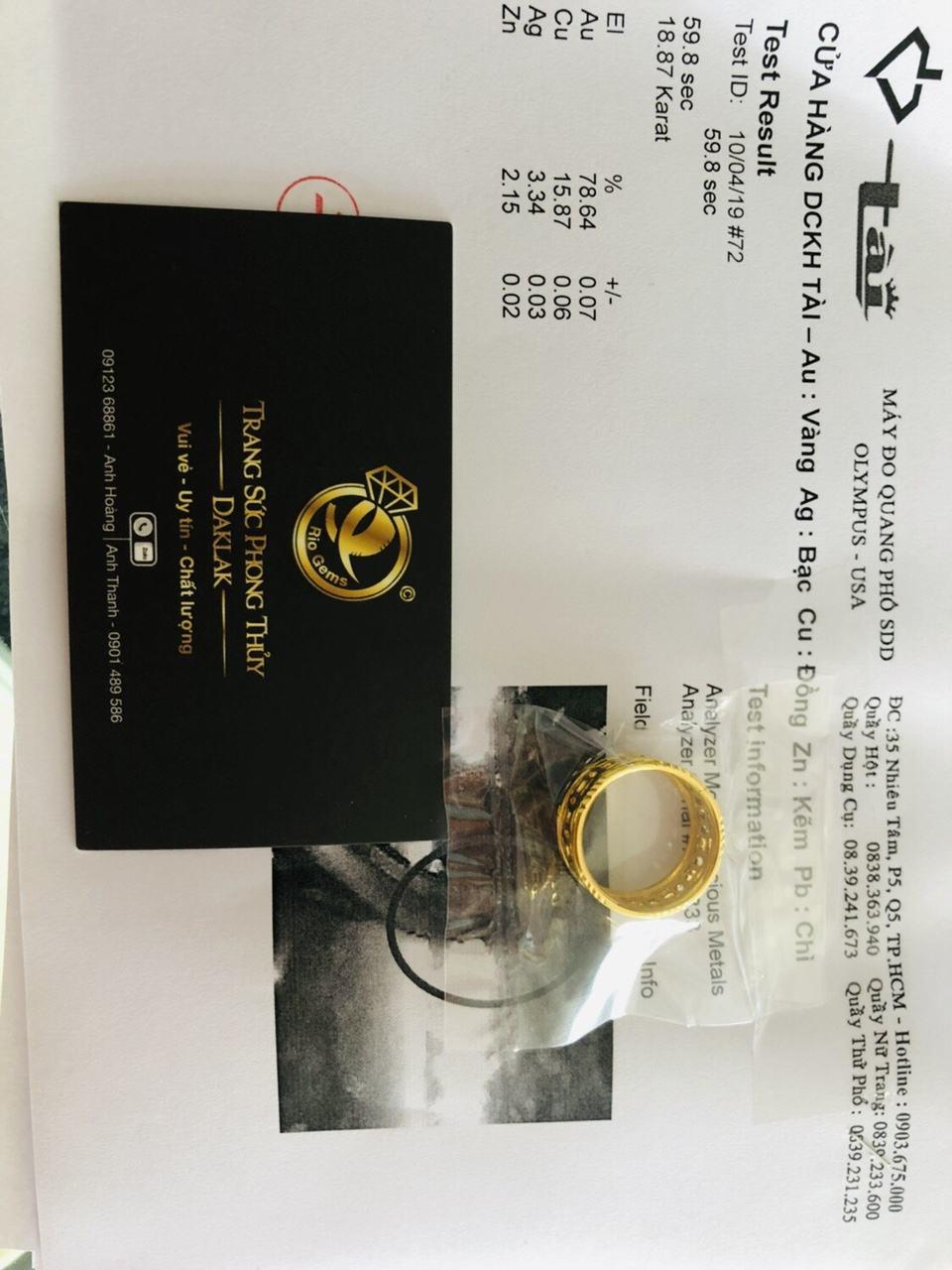 Giấy phổ vàng Nhẫn kim tiền vàng 24K - 18K luồng lông FAKE (khách đưa)