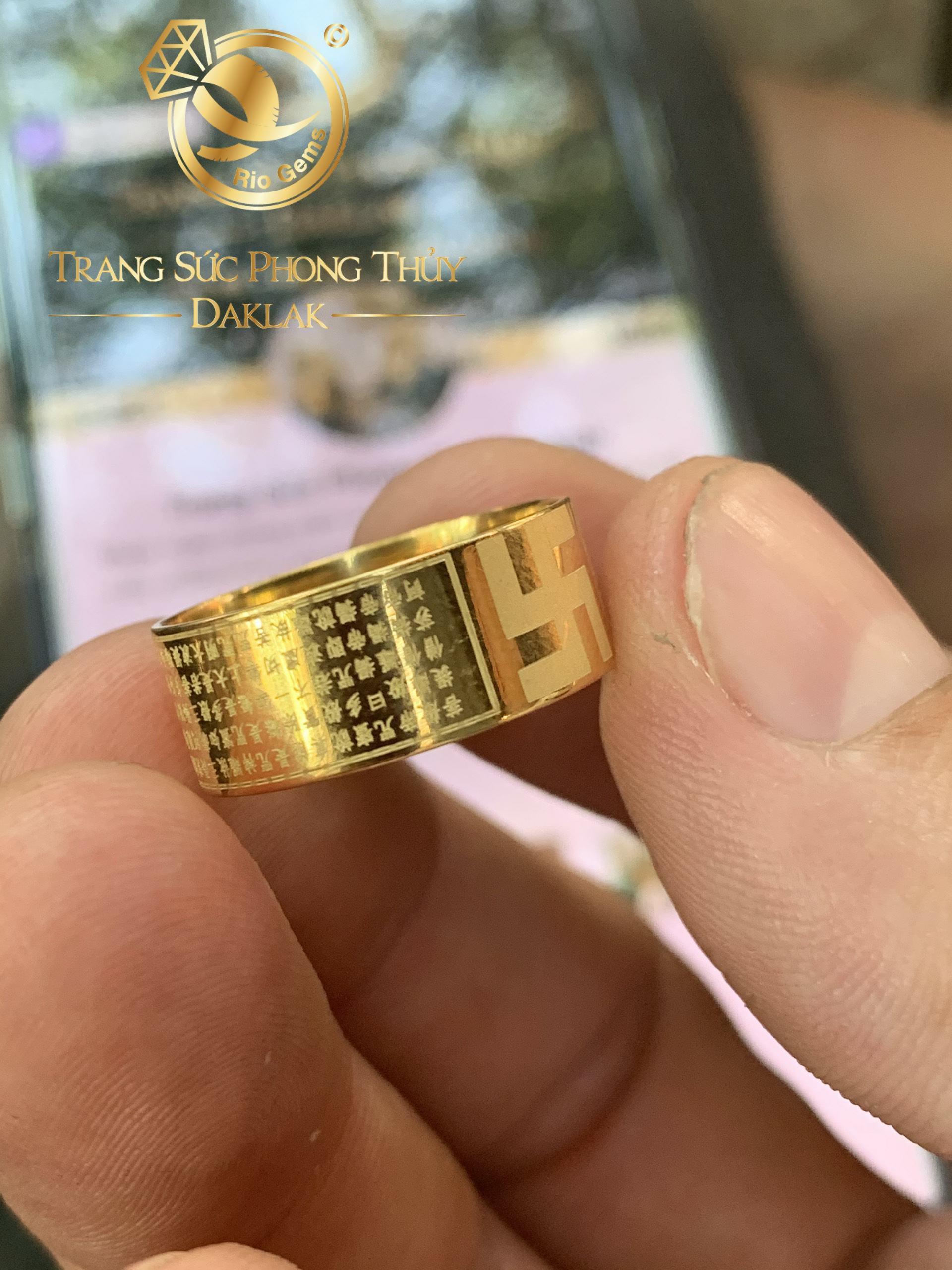 Nhẫn Bát Nhã tâm kinh mini VÀNG 10K Riogems