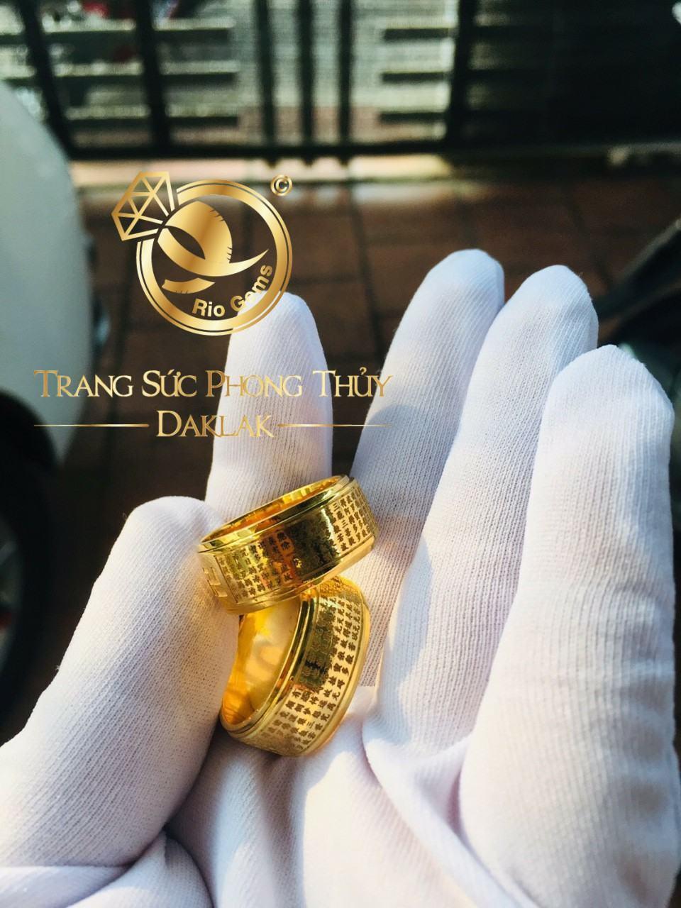 Nhẫn Bát Nhã tâm kinh mini VÀNG 10K phong thủy