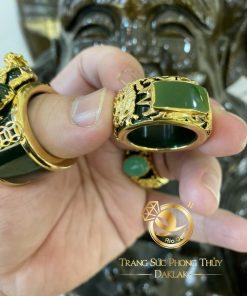 Nhẫn phong thủy Ngọc Bích 2 Rồng cuộn chầu ngọc vàng 18K