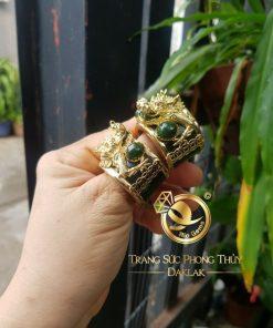 Nhẫn Ngọc Bích Canada lên Đầu rồng 3D cánh dơi
