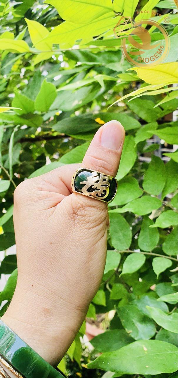 Nhẫn Ngọc Bích đính chữ Lộc vàng 18K