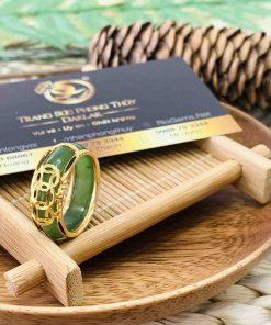 Nhẫn phong thủy Ngọc Bích nam nữ 3 đồng tiền vàng Riogem
