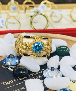 Nhẫn Rắn vàng 18K đính CZ xanh lục Riogems