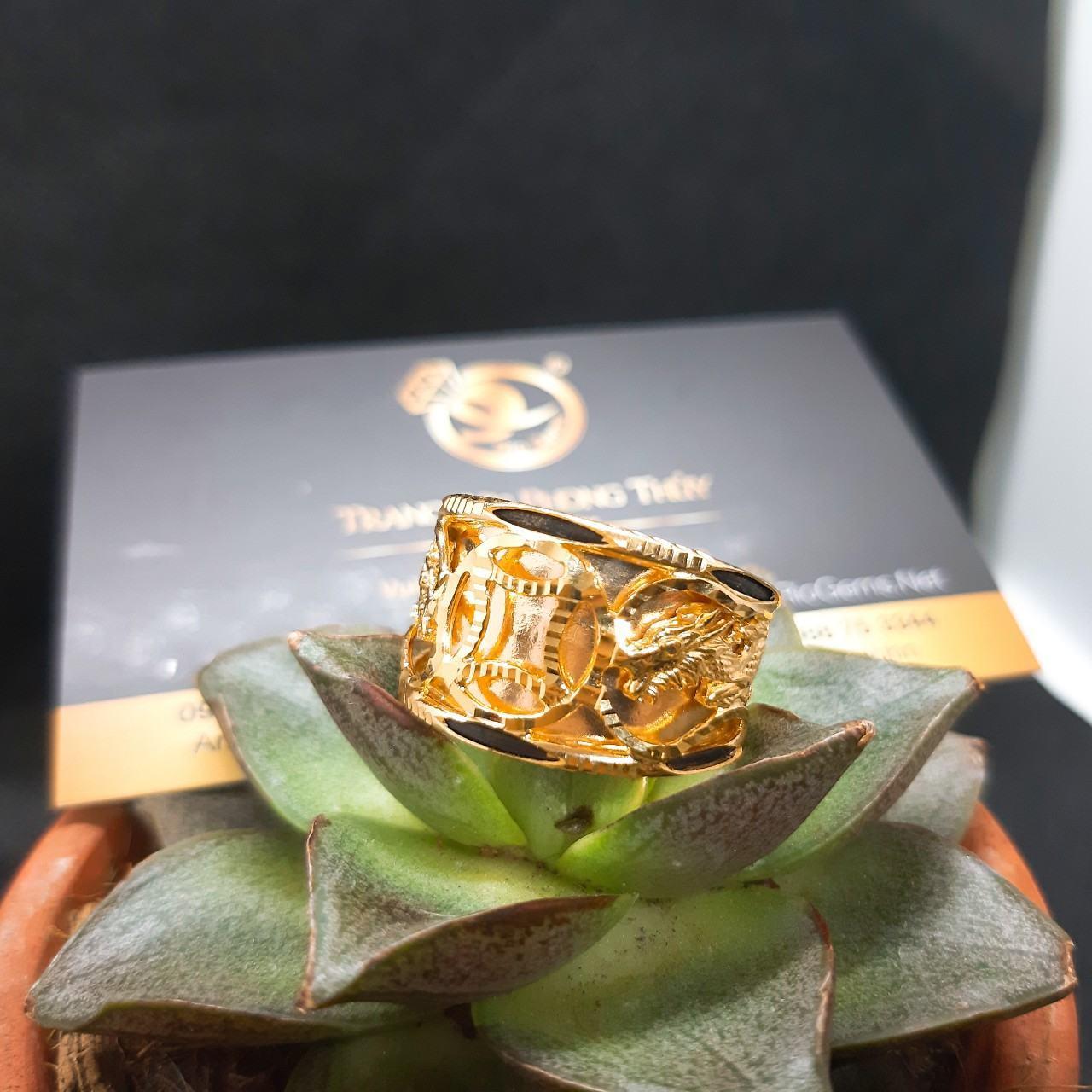 Nhẫn Rồng 1 đồng tiền vàng Riogems