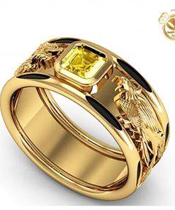 Nhẫn Rồng Phụng vàng 18K chầu ngọc CZ vuông