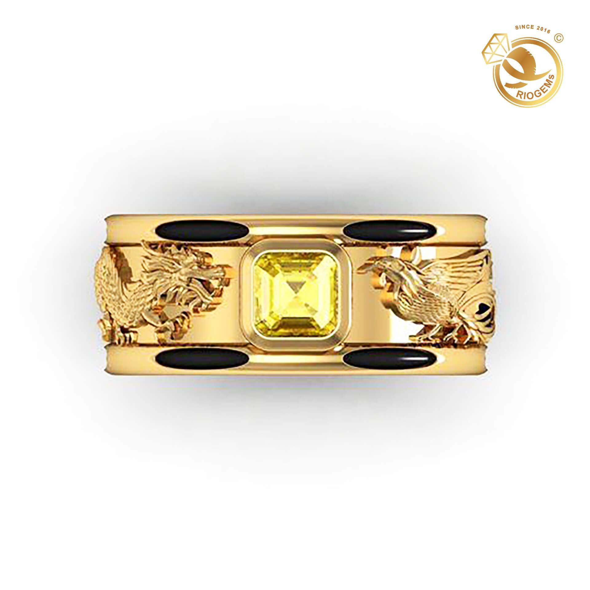 Nhẫn Rồng Phụng vàng 18K chầu ngọc CZ vuông (lông FAKE)