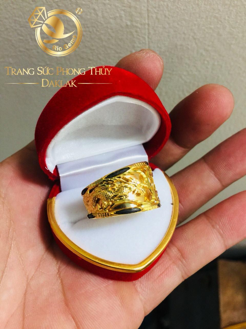 Nhẫn Rồng Rồng 1 đồng tiền VÀNG Ý phong thủy