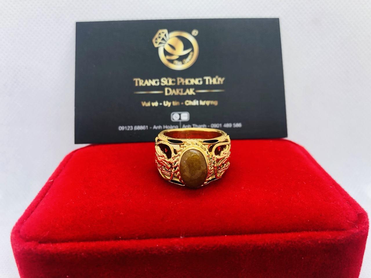 Nhẫn Rồng vàng 18K đính Thạch Anh Tóc vàng