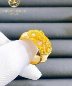 Nhẫn Rồng thè 3D vàng 24K Riogems phong thủy