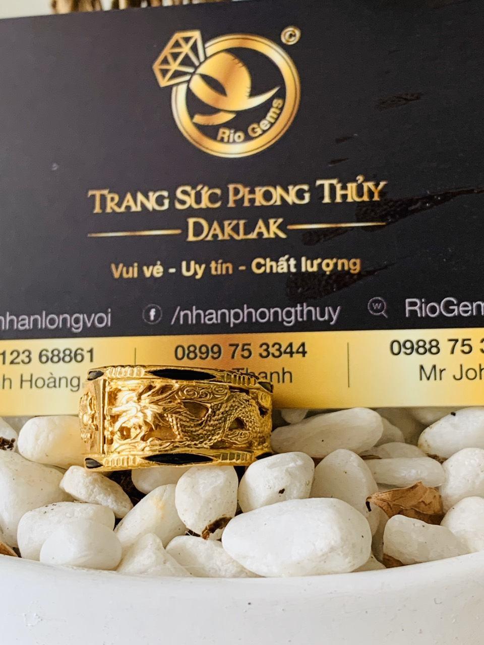 Nhẫn Rồng Rồng vàng 18K phong thủy chầu lửa