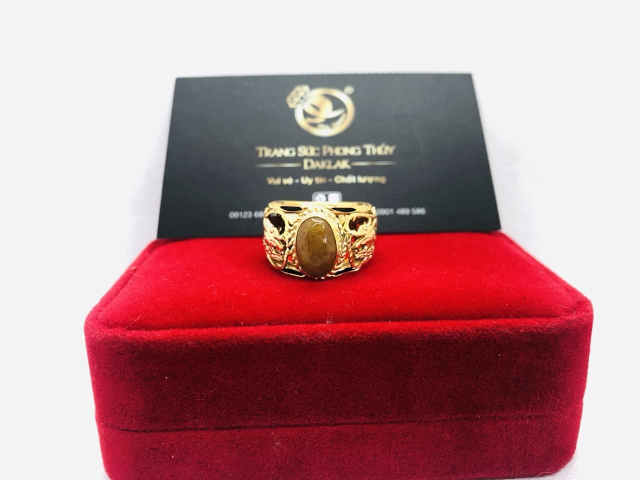 Nhẫn Rồng vàng 18K đính ngọc Thạch Anh Tóc vàng