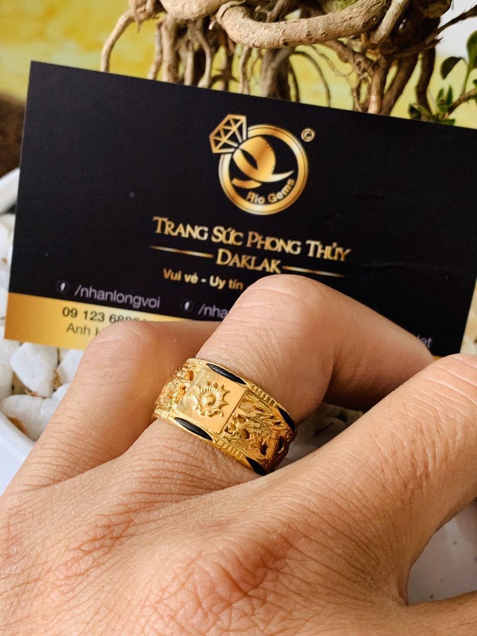 Nhẫn Rồng Rồng vàng 18K chầu lửa phong thủy