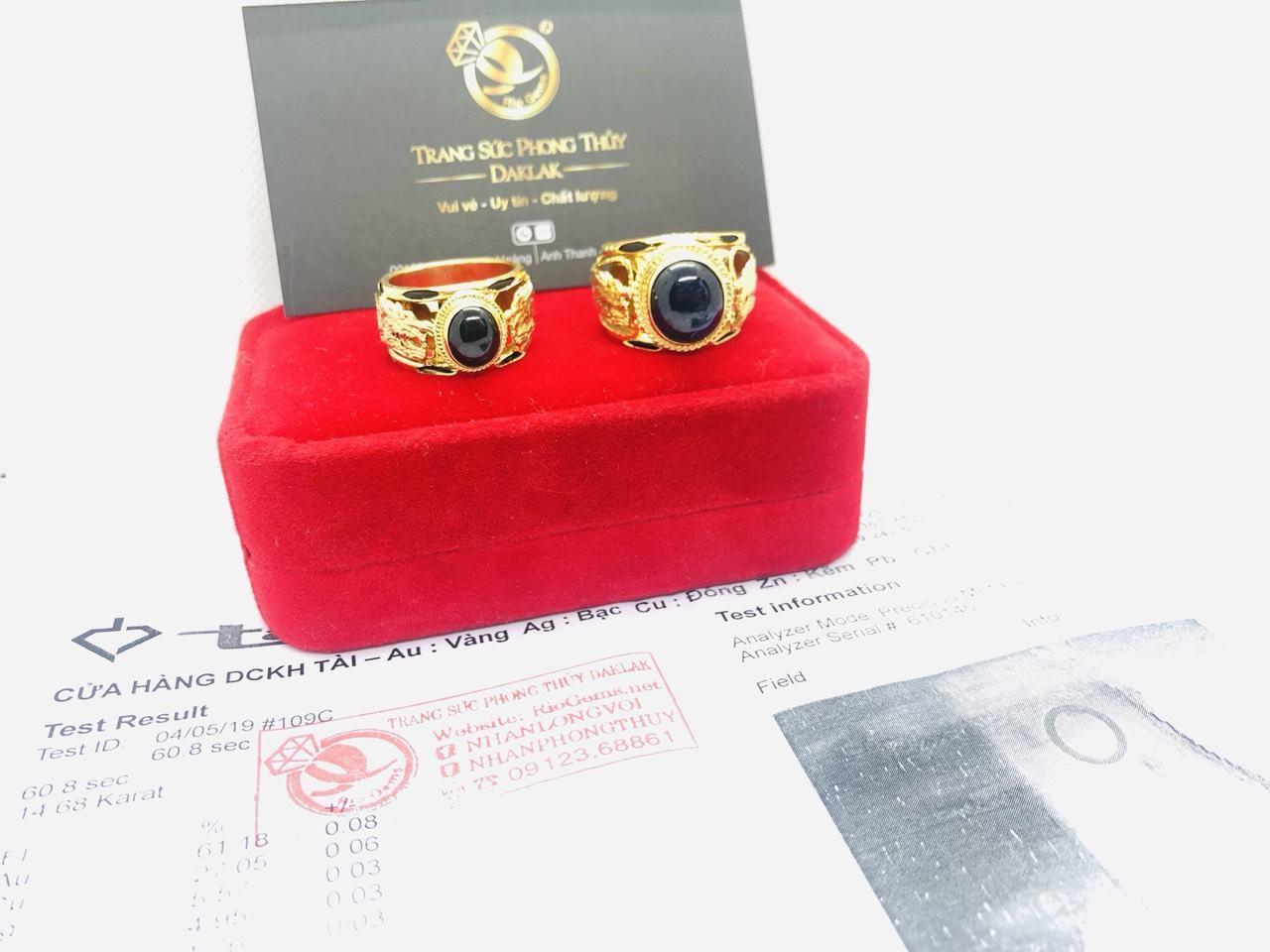 Nhẫn Rồng vàng 18K ngọc đen