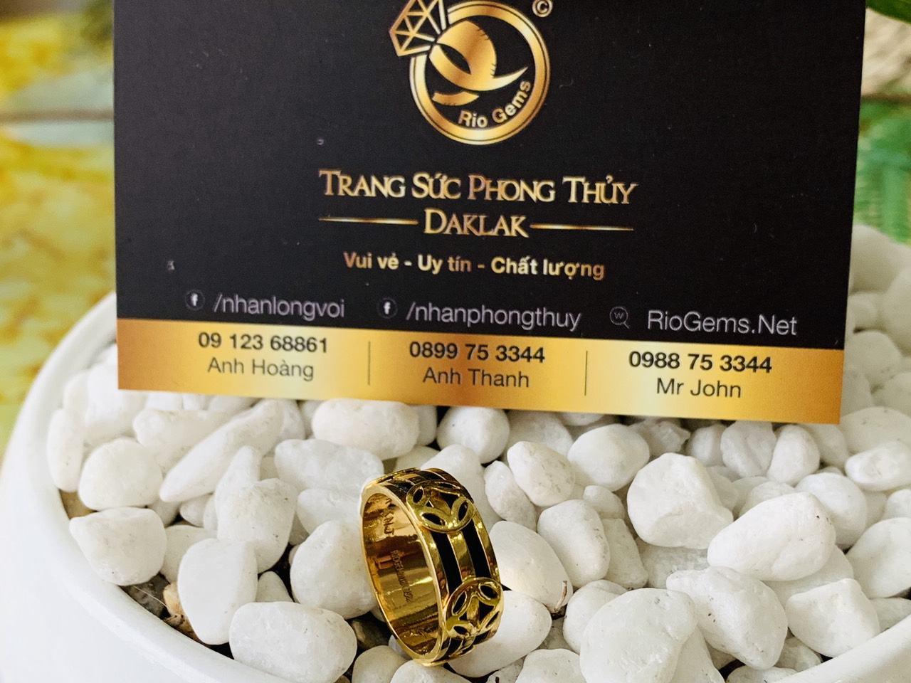 Nhẫn TÀI LỘC mini vàng 18K phong thủy