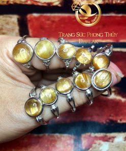 Nhẫn bạc 925 Thạch Anh Tóc Vàng và Tóc Đỏ tự nhiên phong thủy