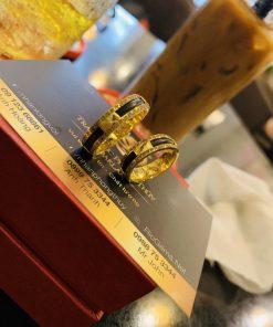 Nhẫn cặp nam nữ2 viền chữ VẠN vàng 18K GIÁ TỐT phong thủy