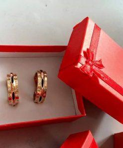 Nhẫn cặp đính đá 2 viền vàng 18K phong thủy Riogems