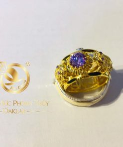 Nhẫn cóc vàng 18K phong thủy ngậm ngọc Cz (lông FAKE)