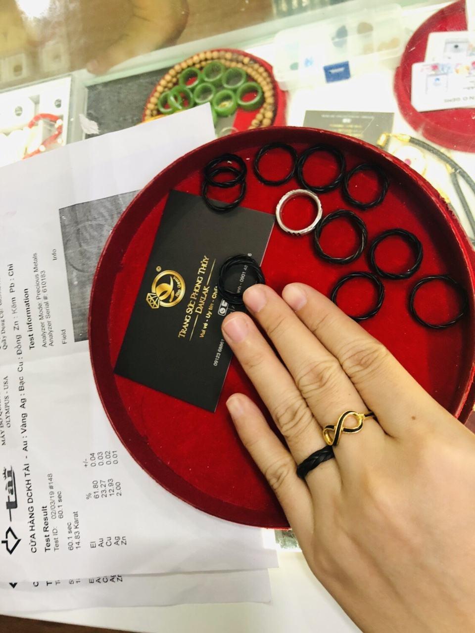 Nhẫn đan tay 1 sợi lông (lông FAKE) Riogems