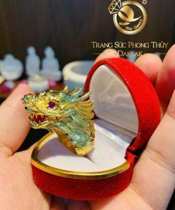 Nhẫn đầu Rồng mini cỡ nhỏ 7 CHỈ vàng 18K