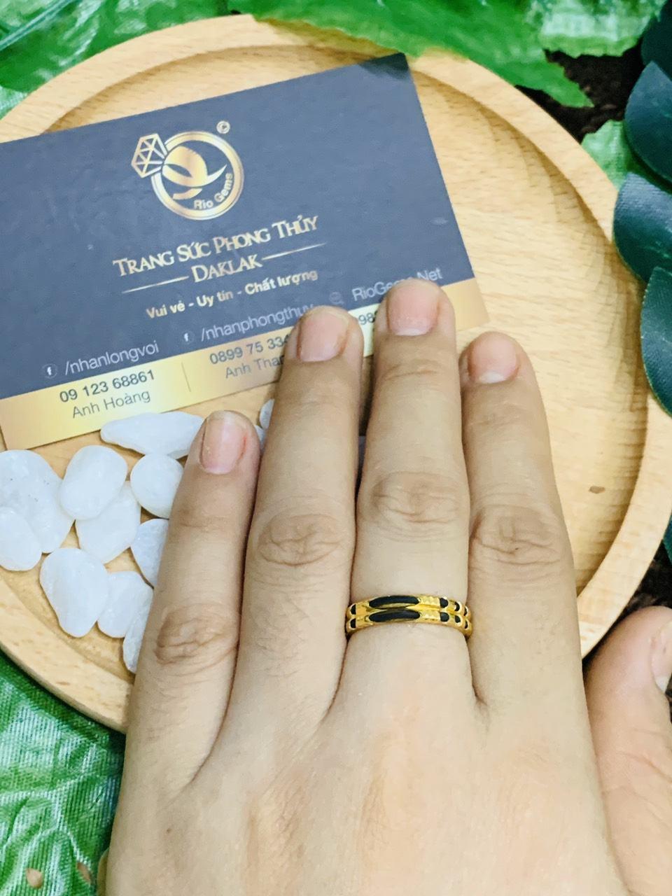 Nhẫn đôi lông đơn giản hợp nam nữ vàng 18K