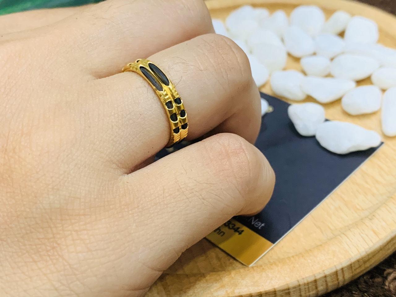 Nhẫn đôi nam nữ vàng 18K phong thủy Riogems