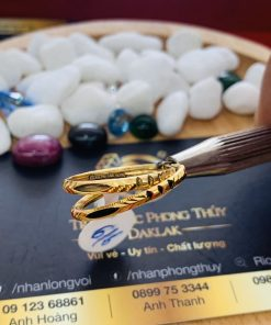 Nhẫn đơn lông trắng vàng 18K phong thủy