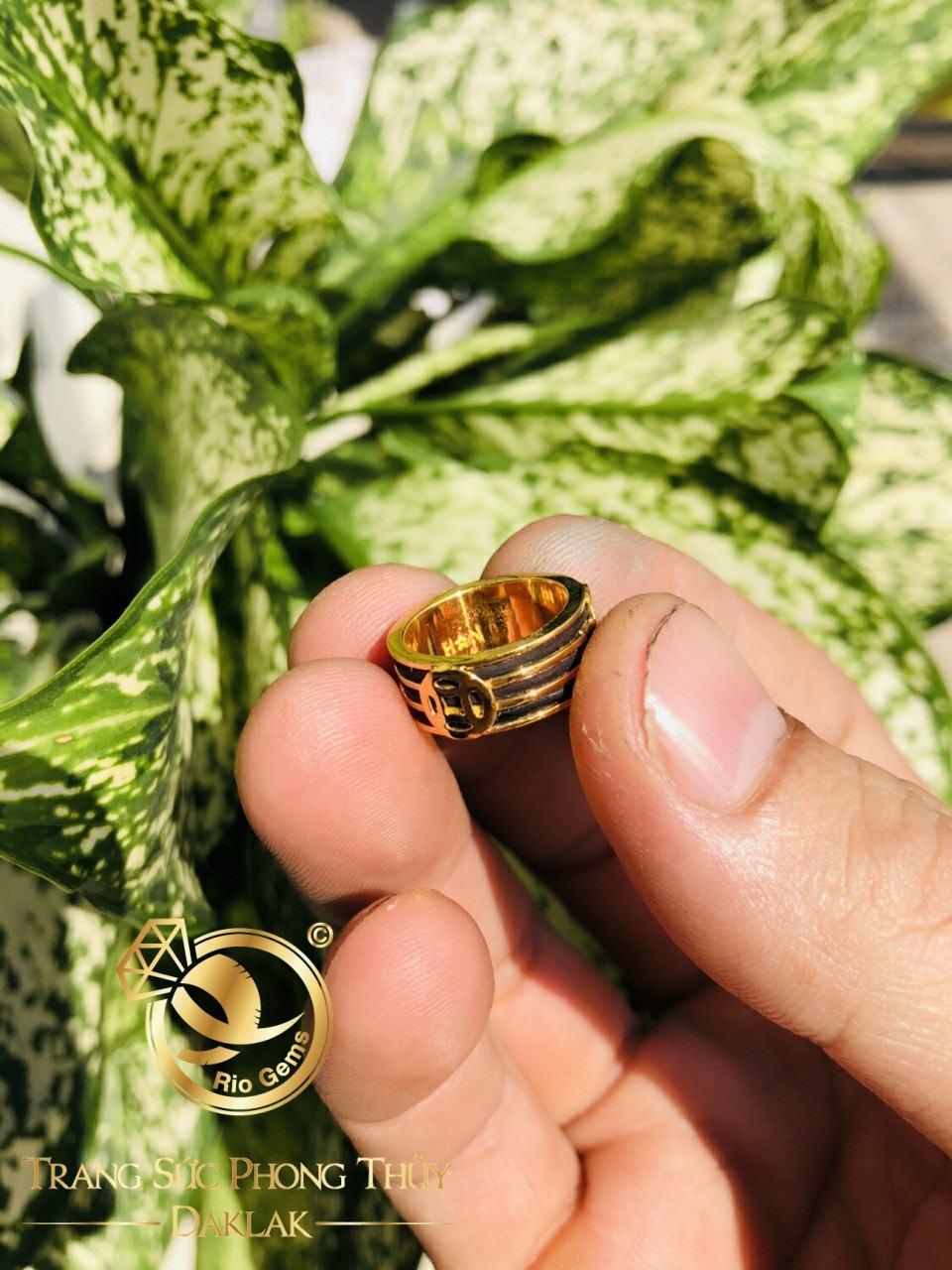 Nhẫn đồng tiền vàng TÀI LỘC dát lòng
