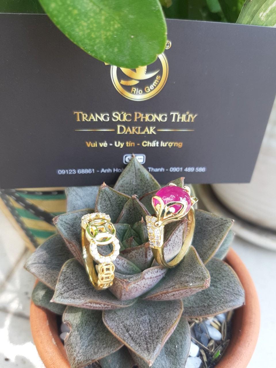 Nhẫn hồ ly vàng 18K phong thủy đính RUBY YÊN BÁI