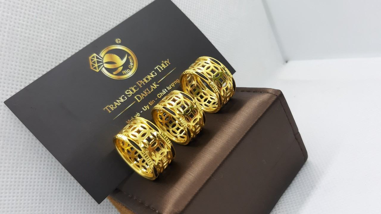 Nhẫn kim tiền vàng 24K - 18K luồng lông FAKE (khách đưa)