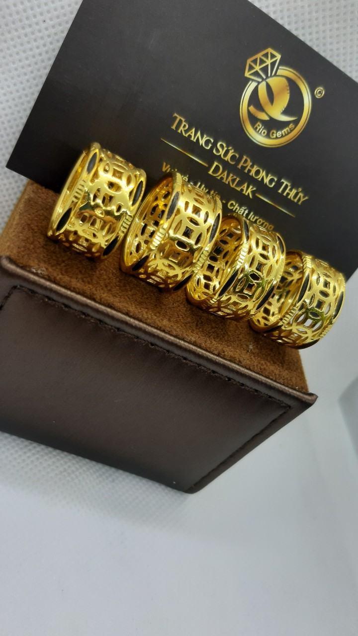Nhẫn kim tiền vàng 24K - 18K luồng lông phong thủy