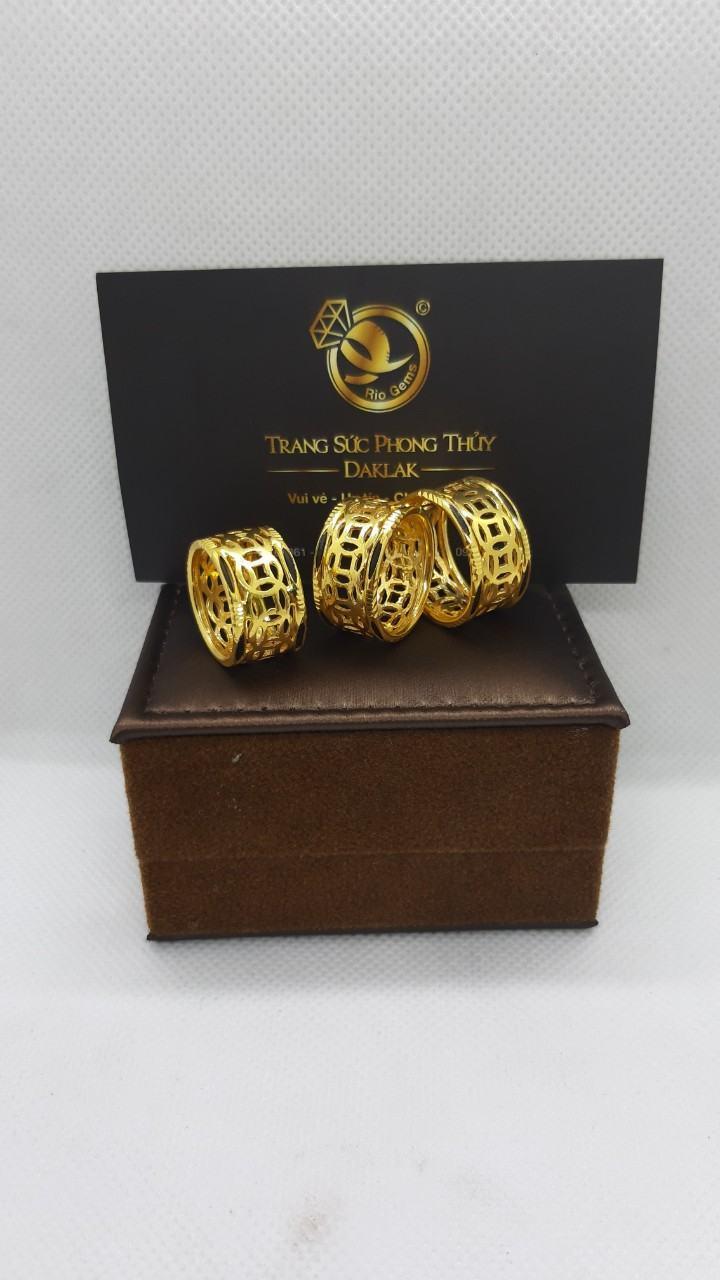 Nhẫn kim tiền vàng 24K - 18K luồng lông